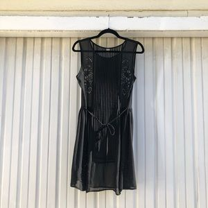 Farm rio black pleated eyelet mini dress